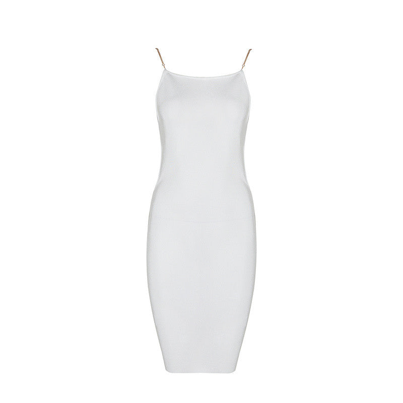 GEMMA Chain Strap Open Back Cocktail Dress
