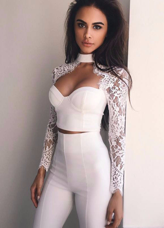 MILA Lace 2-Piece Bandage Top and Pant Set
