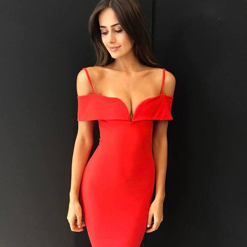 GIA Plunge Off The Shoulder Cocktail Dress