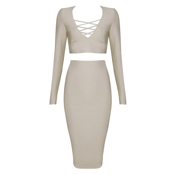 LINA 2-Piece Long Sleeve Crop Top & Bandage Skirt