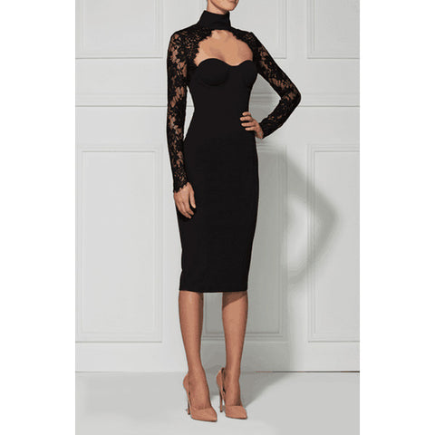 LUCINDA Lace Long Sleeve Cocktail Dress