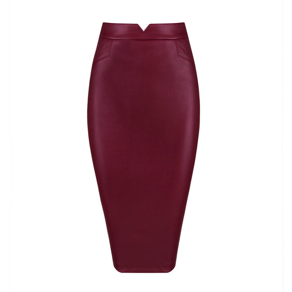 GINAM Leather Pencil Skirt
