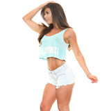 "NYKY Spaghetti Strap ""CALIFORNIA"" Flowy Crop Top"