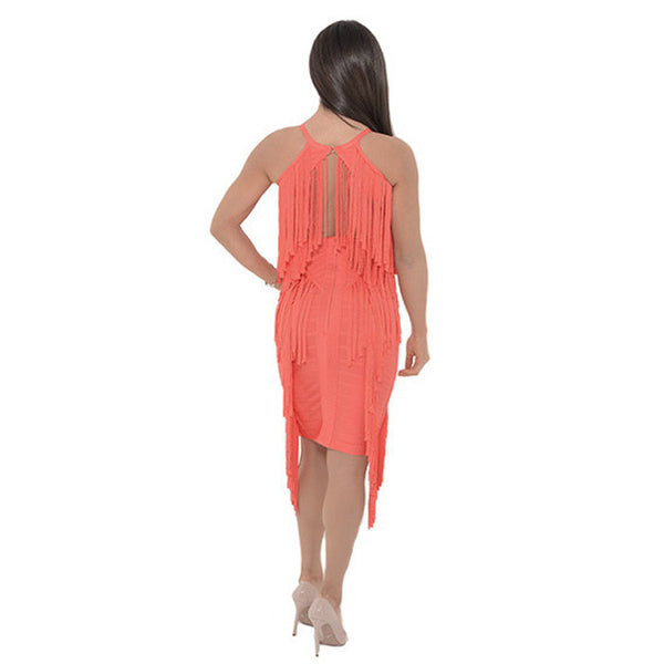 LINDA Coral Flirty Fringe Dress