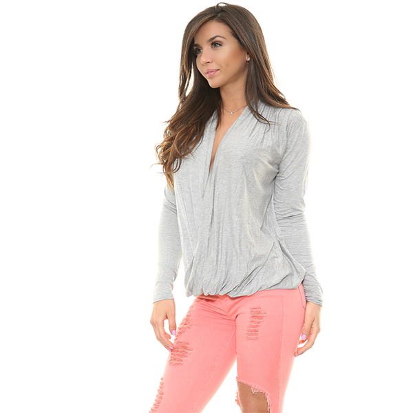 CAMILLE  Deep V Long Sleeve Top