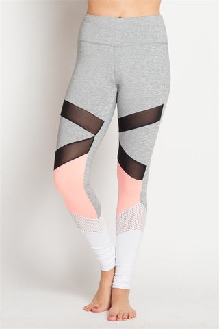 Coral and Mesh Stripe Leggings