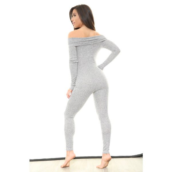SADE'S Long Sleeve Off The Shoulder Onsie Jumpsuit