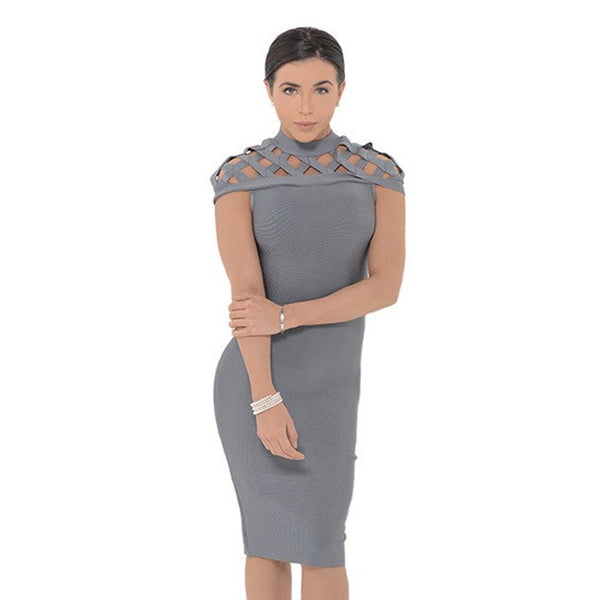 MARISSA Taupe Cut-Out Bandage Dress