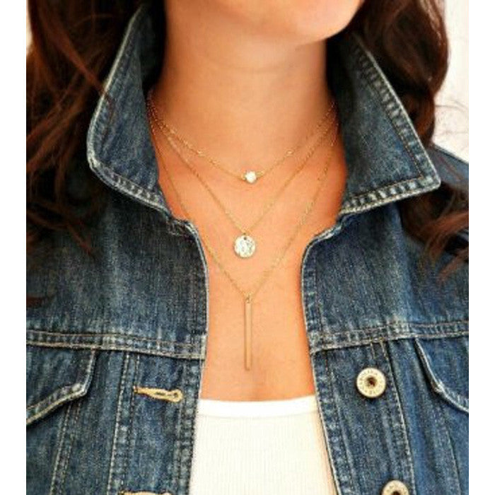 High Fashion Hammered Disc & Bar Multi-layered Chain Necklace