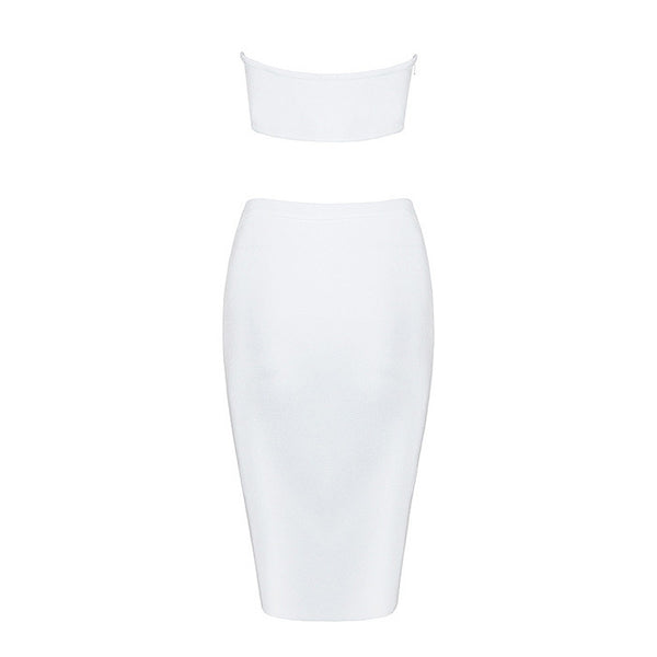 OLIVIA Cut Out 2 Piece Crop Top & Bandage Skirt