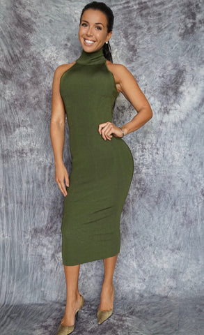 BAILEY Sleeveless Turtleneck Midi Dress