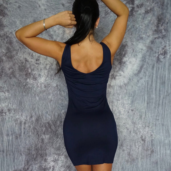 BELLE Sleeveless Bodycon Navy Mini Dress