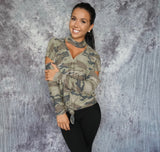 KELLIS Camo Long Sleeve Knot Top