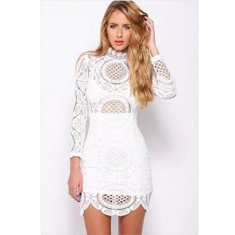 IMANI Quarter Sleeve Lace Mesh Mini Dress