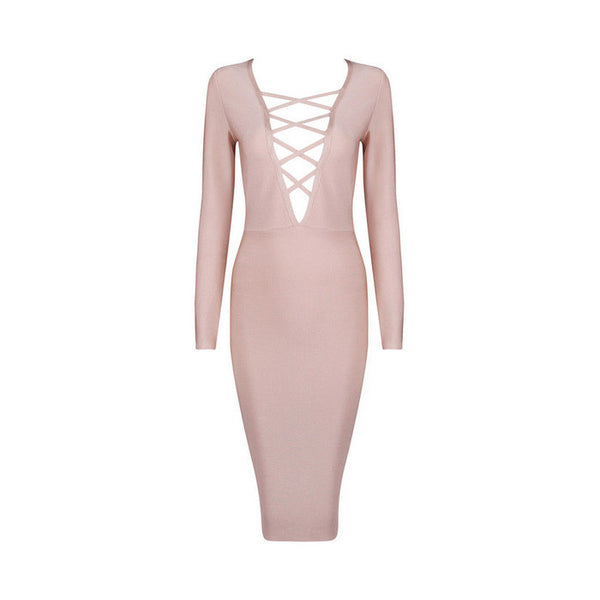 DELILAH Long Sleeve Deep V Bandage Dress