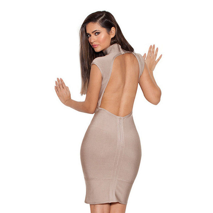 JENNA Taupe Backless Bandage Dress