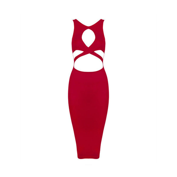 ALONA Cut Out Sleeveless Bandage Dress