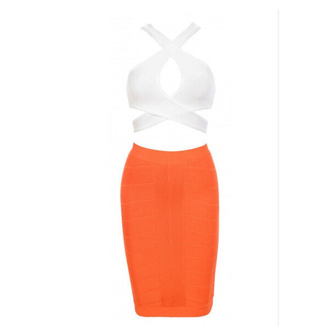 ANYA Bandage 2-Piece Crop Top & Cocktail Pencil Skirt