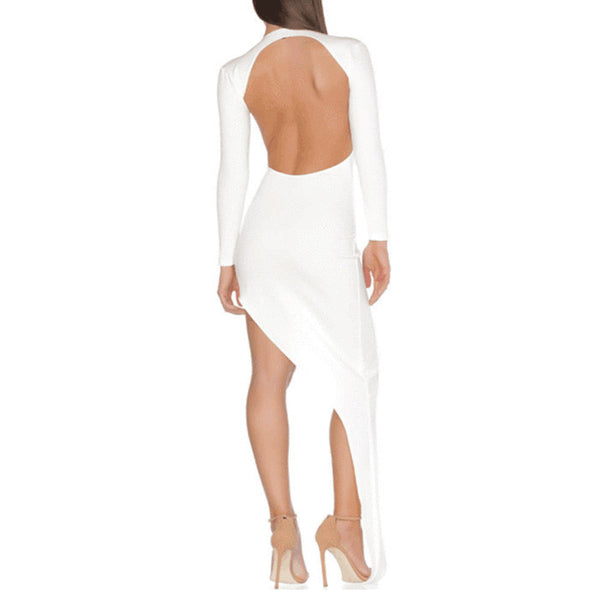 NINA Long Sleeve Open Cut Bandage Cocktail Dress
