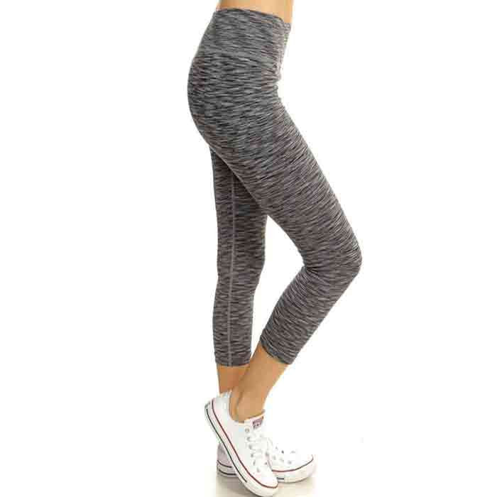 Grey Heathered Capri Style Leggings