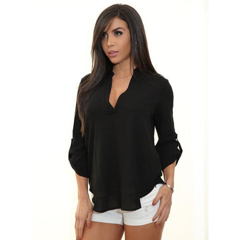 AGATA Quarter Sleeve Deep V Flowy Top