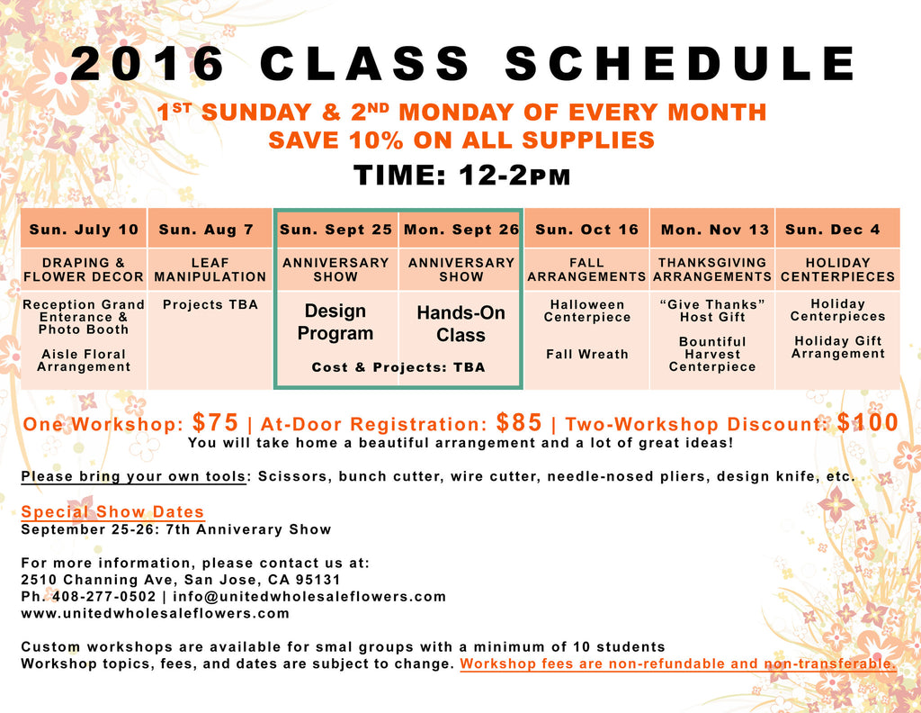 2016 Class Schedule (July-December)