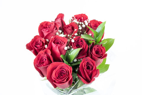 Rose Bouquet w/Gyp Red (1 Dozen)