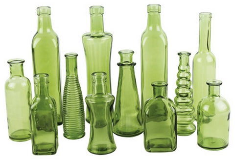 "3203-24-426 VINTAGE BOTTLE JAR 3X6.5"" - GREEN - CS(24)"
