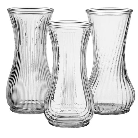 "4087-24-09 ROSE VASE 4X9.75"" - CRYSTAL - ASST/3 CS(24)"