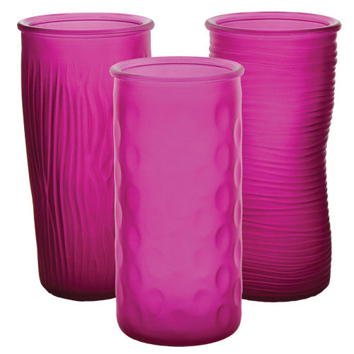 "4090-12-310 ROSE VASE 4X9.75"" - RASPBERRY FROST - ASST/3 CS(12)"