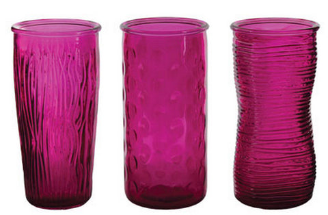 "4090-12-320 ROSE VASE 4X9.75"" - RASPBERRY - ASST/3 CS(12)"
