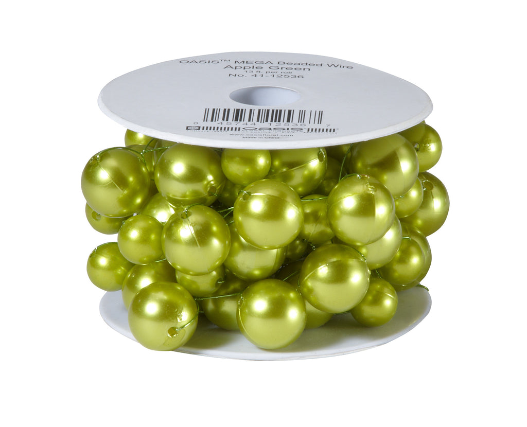 41-12536 Beaded Wire 13' - Apple Green - CS(6)