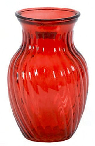 "7-793GLS/1RD GARDEN VASE 4X8"" - RED - CS(12)"