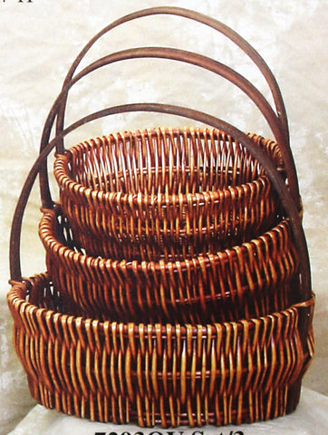 7293OV Honey Brown Willow Oval Basket S/3