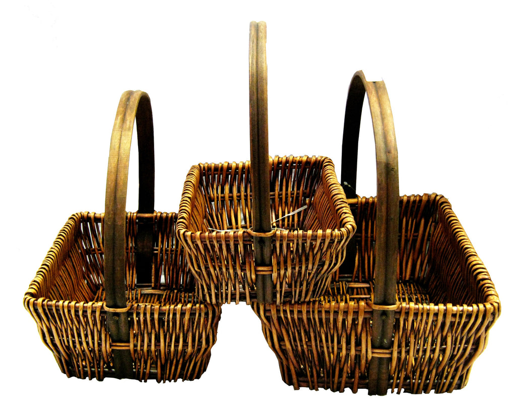 7293RT Honey Brown Willow Rectangle Basket S/3