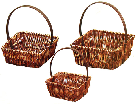 7293SQ Honey Brown Willow Square Basket S/3