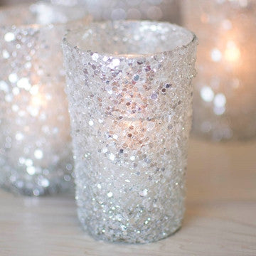 "960505SLV BEADED GLITTER VOTIVE SILVER 2.7 X 4"" - PKG/4 - CS(6)"