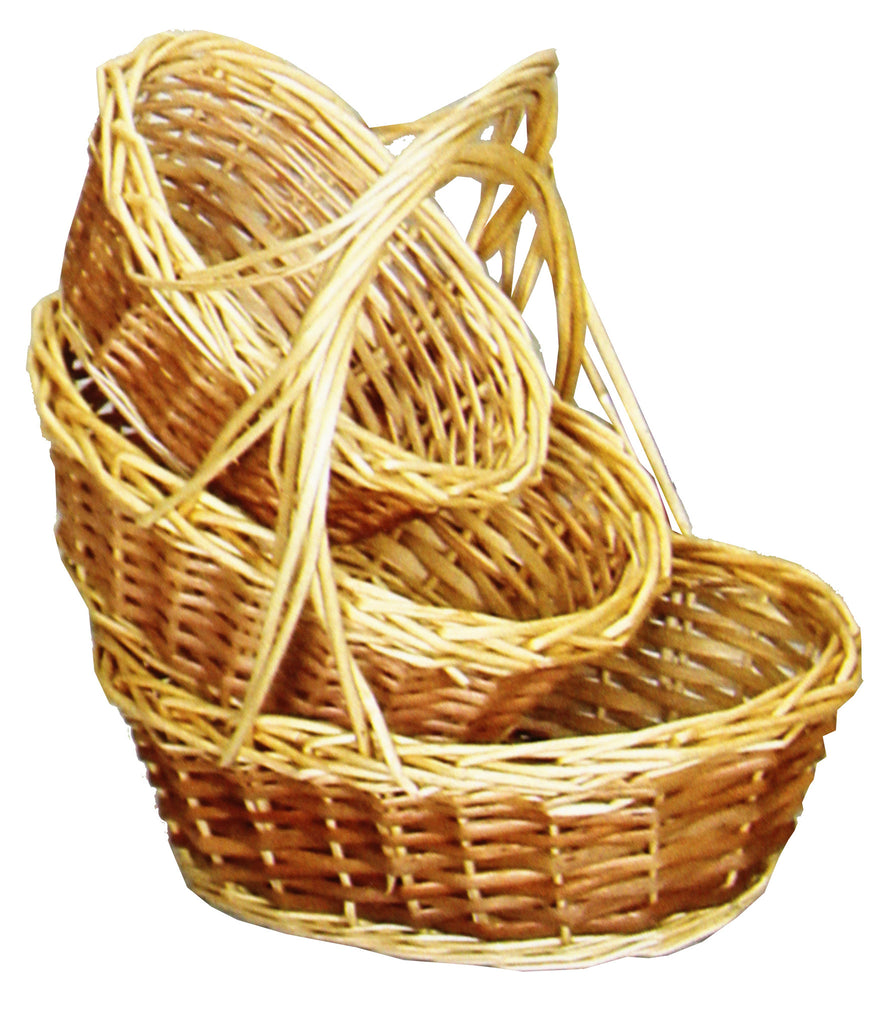 9802OV Two-Tone Willow Baskets S/3