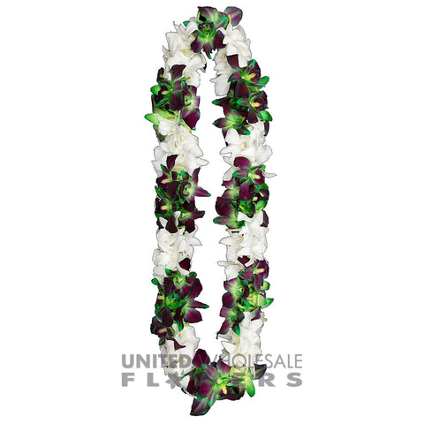 FRESH DOUBLE LEIS - GREEN SONNIA & WHITE
