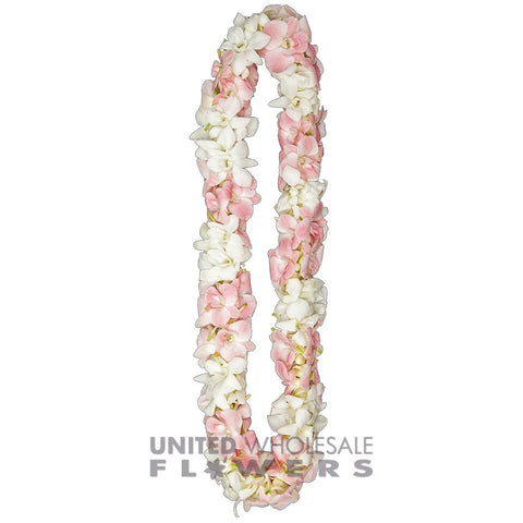 FRESH DOUBLE LEIS - PINK & WHITE