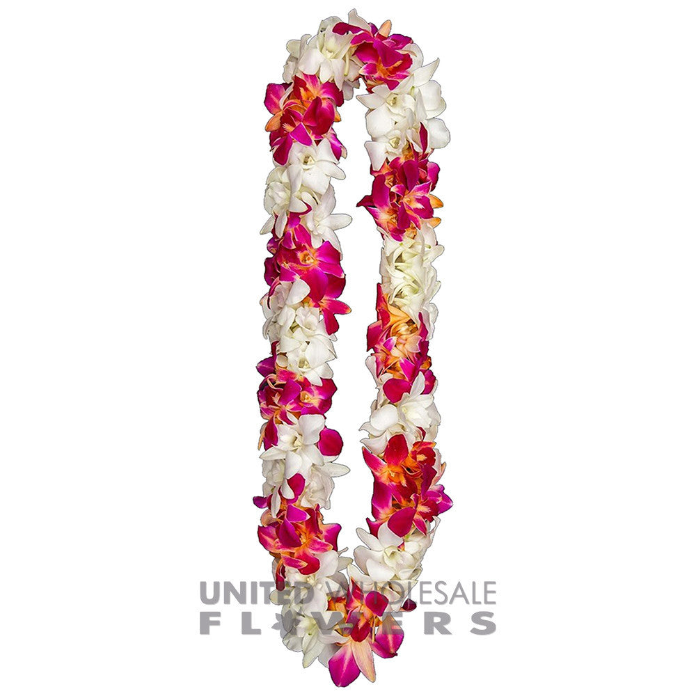FRESH DOUBLE LEIS - RED SONNIA & WHITE
