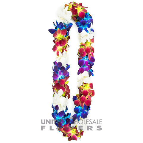 FRESH DOUBLE LEIS - BLUE SONNIA, GREEN SONNIA & WHITE