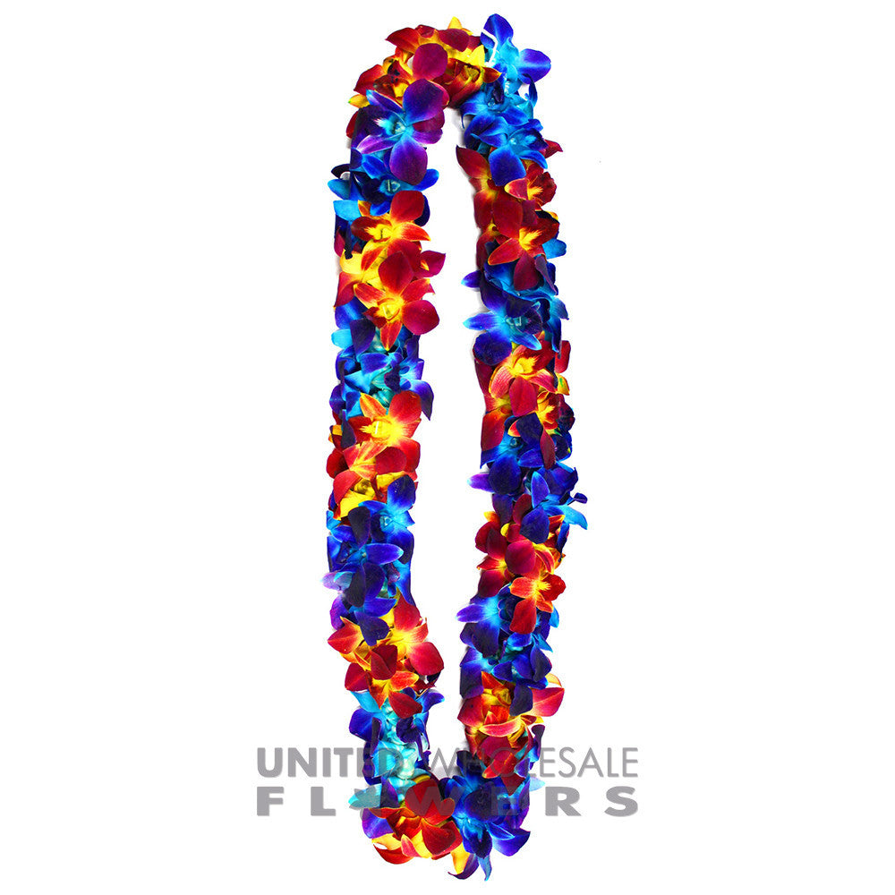 FRESH DOUBLE LEIS - BLUE SONNIA & YELLOW SONNIA