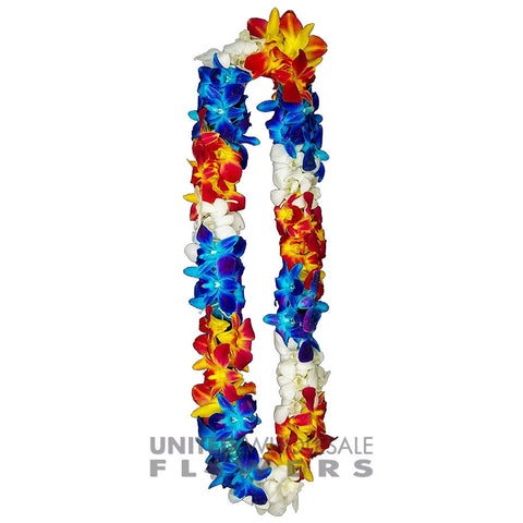 FRESH DOUBLE LEIS - BLUE SONNIA, YELLOW SONNIA & WHITE