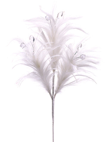 FSF686-WH Feather White With Bead CS(12)