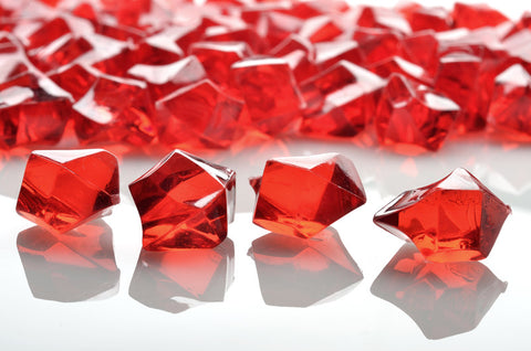 GM-RD ACRYLIC GEMSTONES 3/4LB - RED - CS(12)