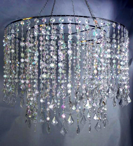 "HLL141824 MULTI DIAMOND CUT CHANDELIER 24""D X 18.50"" L  - CS(2)"