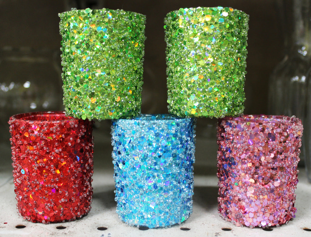 "960416 COLOR GLITTER VOTIVE HOLDER GREEN 2.5 X 3"" - PKG/4 - CS(6)"