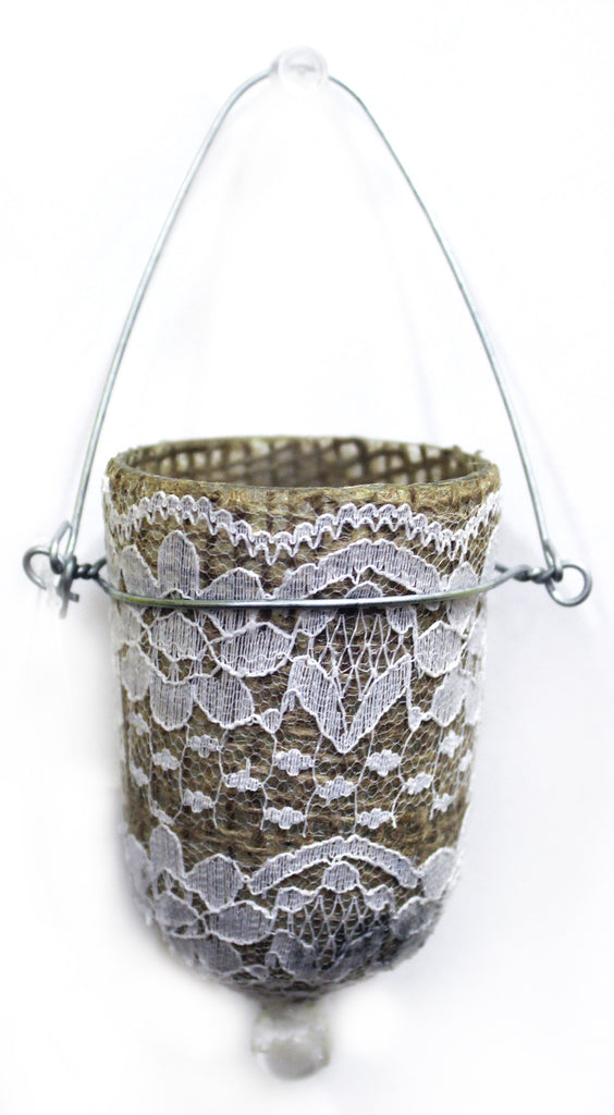 "23551 GLASS VOTIVE HOLDER w/HANGER  2.12 X 3"" LACE OVER BURLAP - CS(6)"