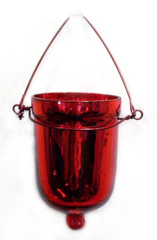 "01153 GLASS VOTIVE HOLDER w/HANGER  2.12 X 3"" RED - CS(6)"